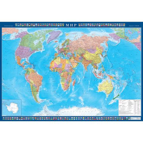 Настенная карта Мир 1,54х1,05м 1:22млн политическая