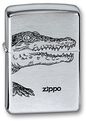 Зажигалка ZIPPO Classic Brushed Chrome™ Изображение аллигатора  ZP-200 ALLIGATOR