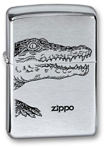 Легендарная классическая американская бензиновая широкая зажигалка ZIPPO Classic Brushed Chrome™ серебристая матовая из латуни и стали с изображением аллигатора ZP-200ALLIGATOR