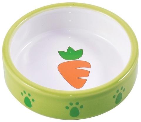 КерамикАрт миска керамическая для грызунов 70 мл Зеленая с морковью