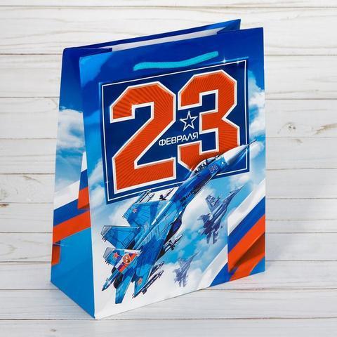 Пакет «23 февраля МиГ» 23×27×8см
