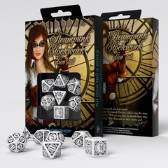 Steampunk Clockwork White & black Dice Set (7)