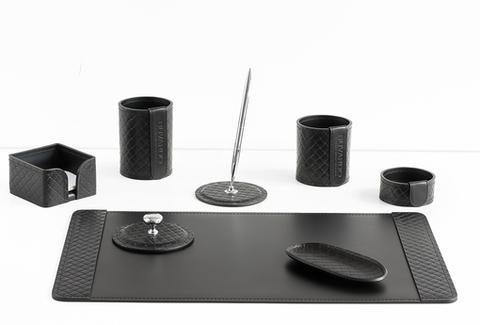 Набор офисный из кожи FG Black treccia/черный 8 предметов