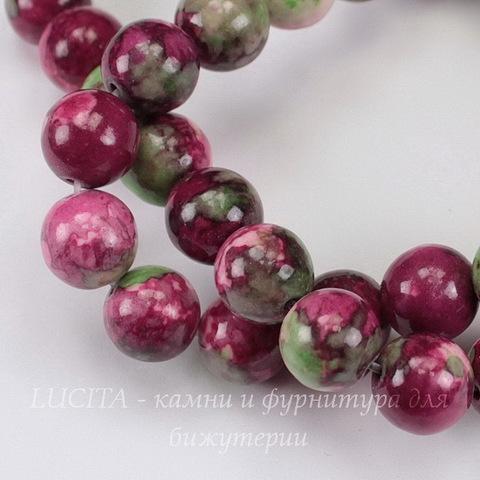 Бусина Жадеит (тониров), шарик, цвет - белый+зеленый+фиолетовый, 10 мм, нить