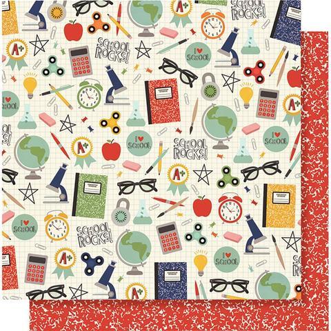 Лист двусторонней бумаги 30х 30 см -Simple Stories  School Rocks!-I Love School