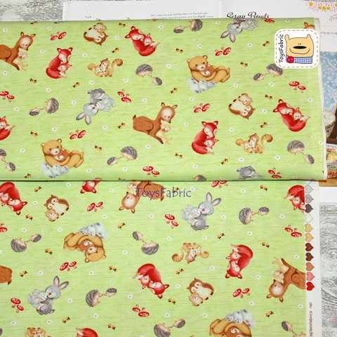 Ткань для пэчворка 20950 (лесные звери на салатовом) 45х55см