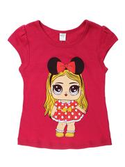 D002-15 футболка для девочек, малиновая