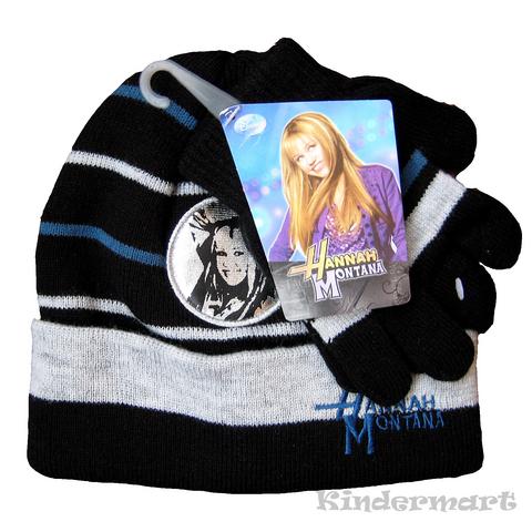 Вязаная шапка и перчатки для девочки Хана Монтана