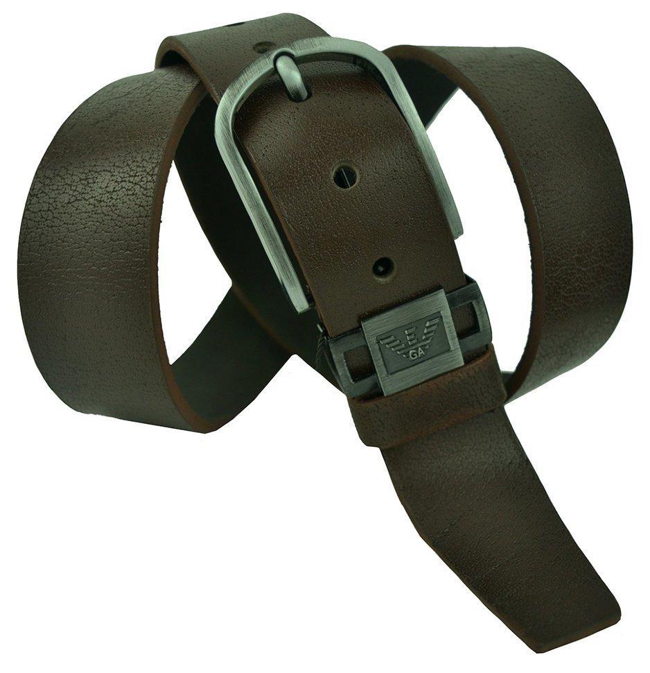 Ремень джинсовый кожаный коричневый Giorgio Armani (копия) 40Armani-T-001