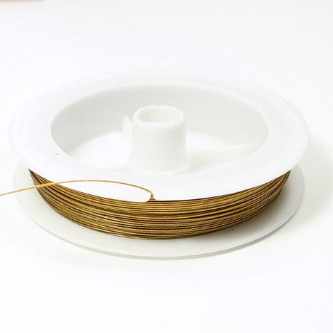 Тросик ювелирный 0,45 мм (цвет - темное золото) примерно 50 метров