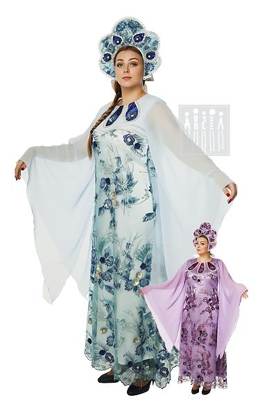 Костюм Любава в народном стиле предназначен для выступления на концертах, ответственных конкурсах, праздниках. Платье Любава изготовлено из креп-сатина, покрытого сеткой.