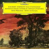 Herbert von Karajan, Berlin Philharmonic / Schubert: Symphony No.8 'Unfinished', Beethoven: Fidelio - Leonore III - Coriolan (Overtures)(LP)