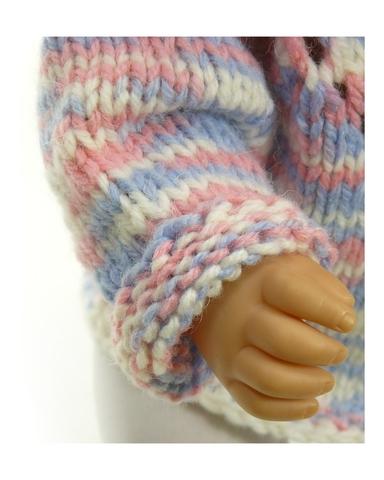 Вязаный жакет и шапочка меланж - На кукле. Одежда для кукол, пупсов и мягких игрушек.