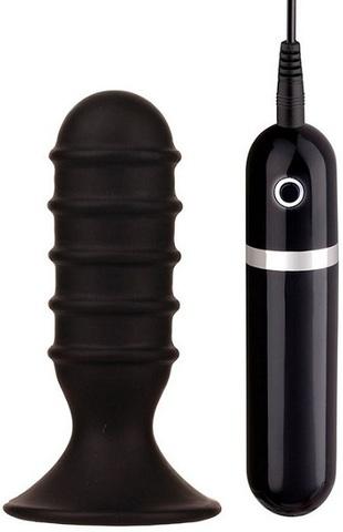 Чёрная анальная вибропробка с рёбрышками - 10 см.