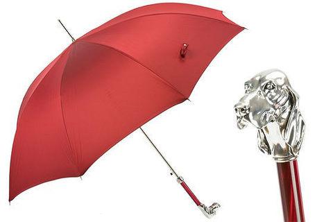 Зонт-трость Pasotti Red Umbrella with Silver Hound, Италия