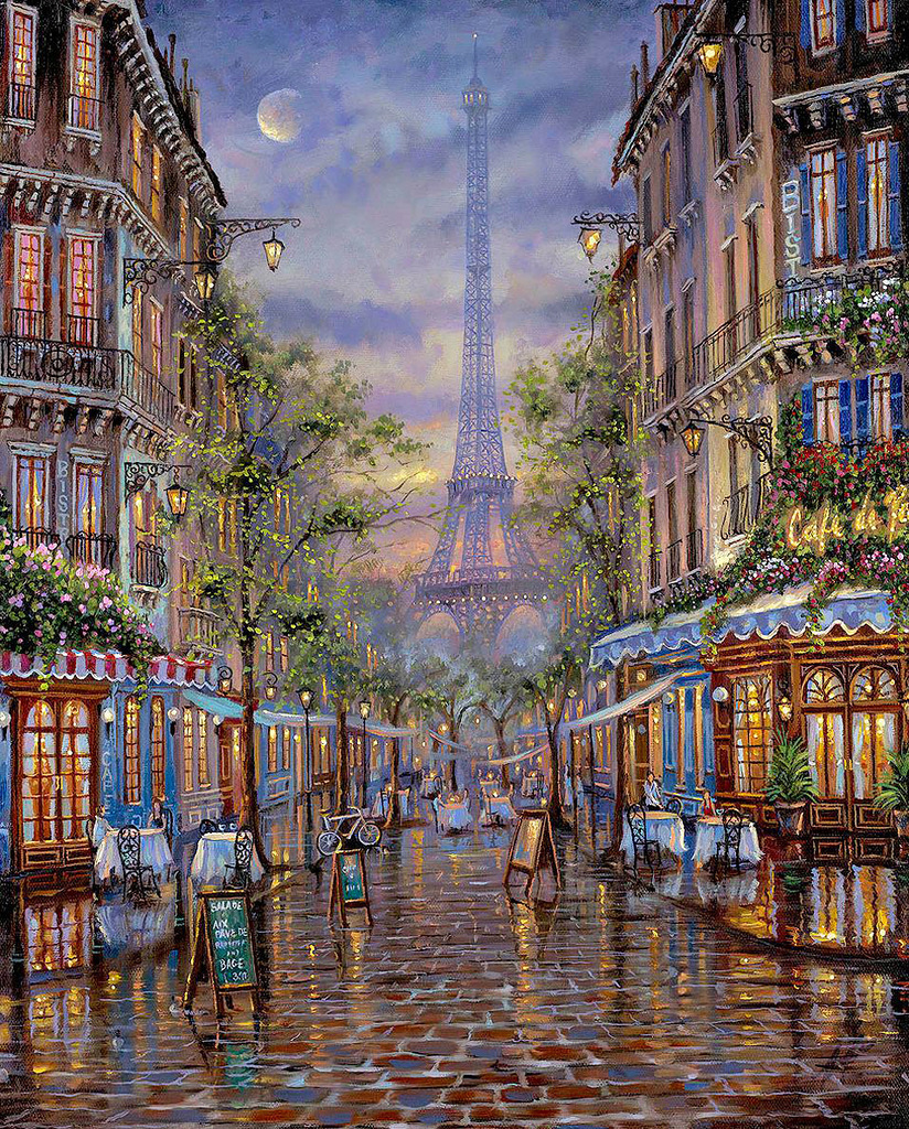 Картина раскраска по номерам 30x40 Кафе на улочках Парижа ...