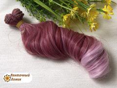 Пряди для бантиков крупный локон бордово-розовый (пучок опт)