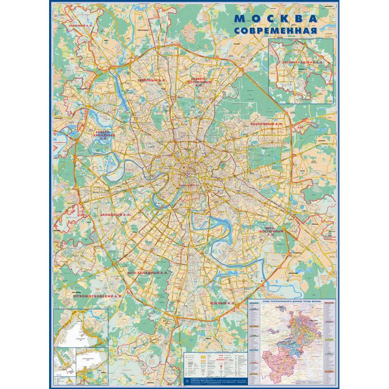 Настенная карта Москва современная 1,58х1,18м 1:34тыс с каждым домом