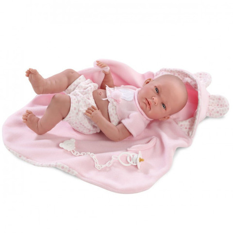 LLORENS: Кукла малышка Ника 38см в шапочке с ушками 73830