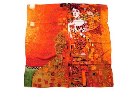 Итальянский платок из шелка оранжевый с картиной 0627