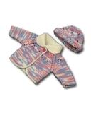 Вязаный жакет и шапочка меланж - Розовый / голубой. Одежда для кукол, пупсов и мягких игрушек.