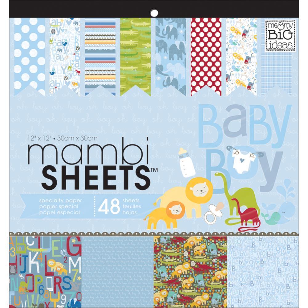 Набор односторонней бумаги с глиттером Me & My Big Ideas Mambi Specialty Cardstock Pad- 30х30см-48л -Oh Baby Boy