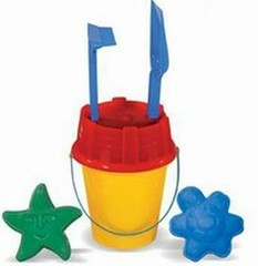 AVC Набор для песка (ведро, формочки, лопата, грабли) (01/1048)