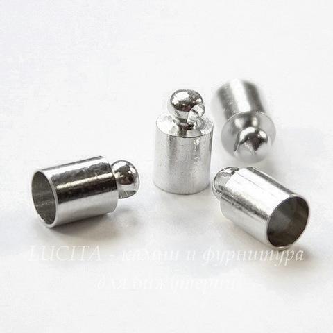 Концевик для шнура 4,5 мм (цвет - платина) 9х5 мм, 4 штуки