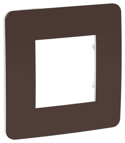 Рамка на 1 пост. Цвет Шоколад/белый. Schneider Electric Unica Studio. NU280216