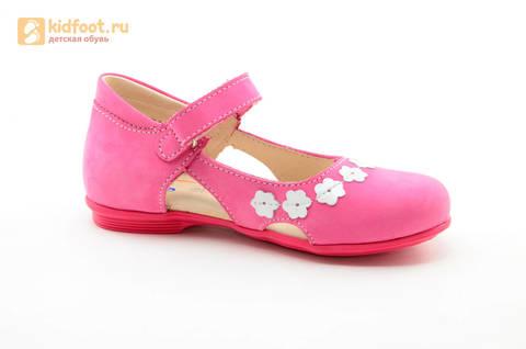 Туфли Тотто из натуральной кожи на липучке для девочек, цвет Розовый, 10208A. Изображение 2 из 16.