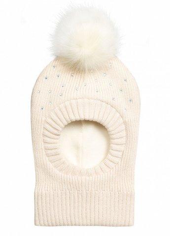 Pelican GKQ4078/2 Шапка-капор для девочки молочная с помпоном