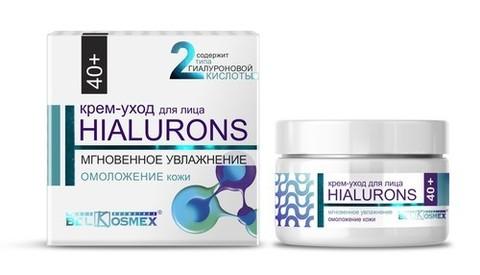 BelKosmex  HIALURONS Крем-уход для лица 40+ мгновенное увлажнение + омоложение кожи 48г