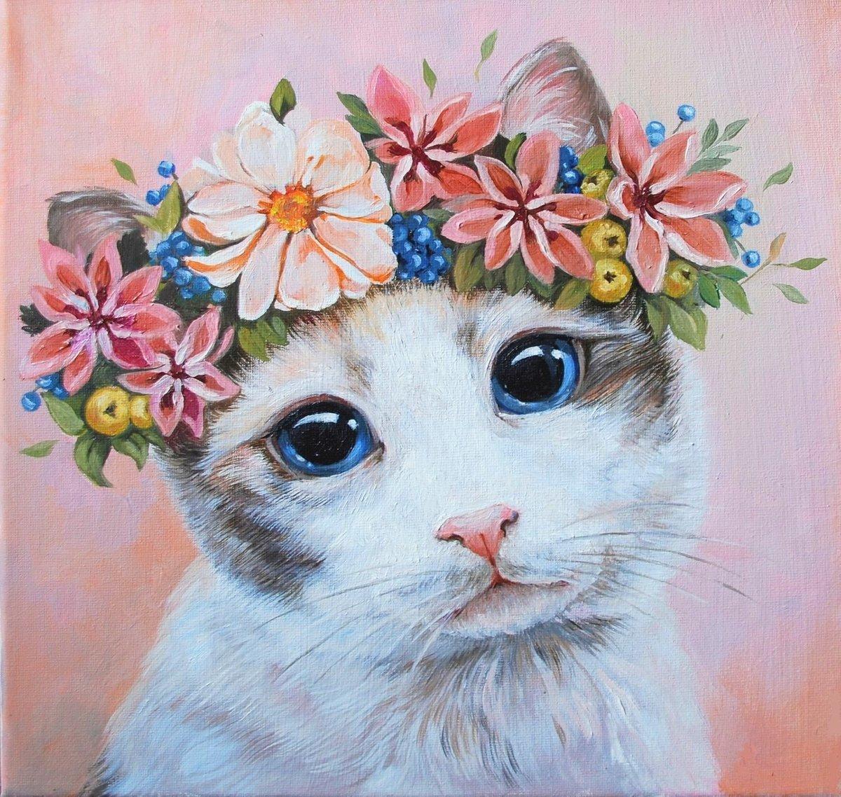 Картина раскраска по номерам 30x40 Кошечка с венком из ...