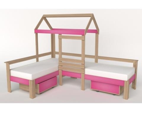 Кровать-домик АВАРА-2 со стенкой и ящиками