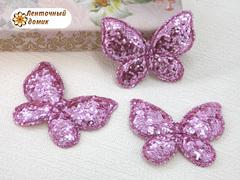 Мягкий декор Бабочки глиттерные розовые
