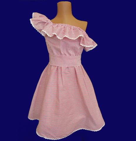 Летнее платье в розовую полосочку