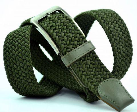 Ремень-резинка мужской текстильный эластичный брючный зелёный 35 мм 35Stropa-R-009
