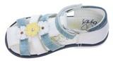 Детские босоножки Котофей 322032-24 из натуральной кожи, для девочки, бело-голубые. Изображение 2 из 5.