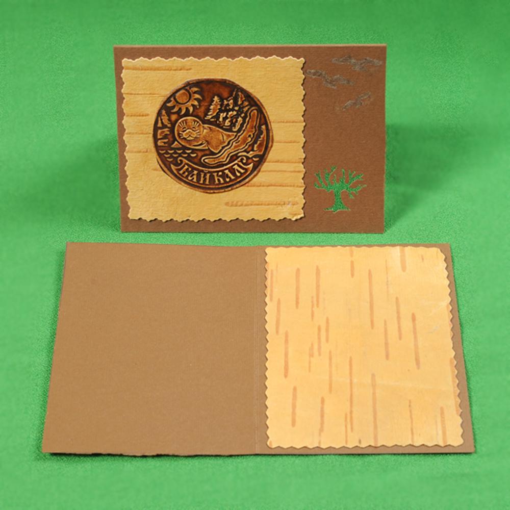Открытка Байкальская нерпа, береста, картон