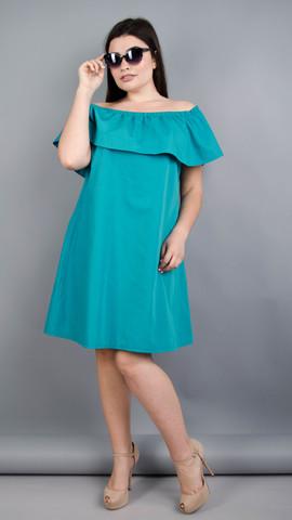 Бали. Модное платье с воланом большие размеры. Бирюза.