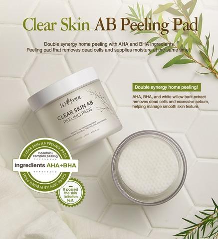 Пилинг-пэды с АНА и ВНА, 70 шт. / Isntree Clear Skin AB Peeling Pad