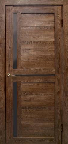 Дверь Эколайт Дорс Медиана, стекло чёрное лакобель, цвет дуб шоколадный, остекленная
