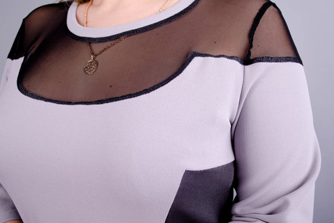 Ада. Романтичное платье плюс сайз. Серый.