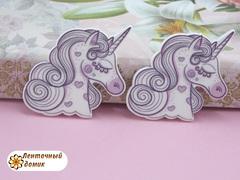 Пластиковый декор Единорог в сердцах розовый