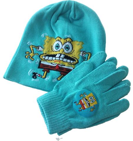 Вязаная шапка и перчатки Губка Боб