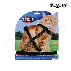 Trixie шлейка и поводок для Крупных кошек и котов, черный