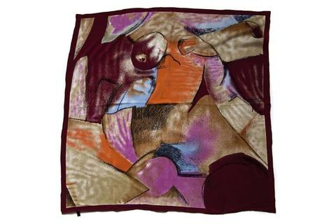 Итальянский платок из шелка бордовый 0651