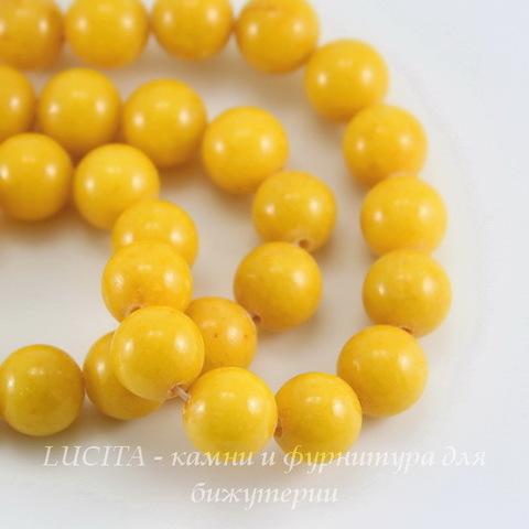 """Бусина Жадеит (тониров), шарик, """"Солнечный"""", 10 мм, нить"""