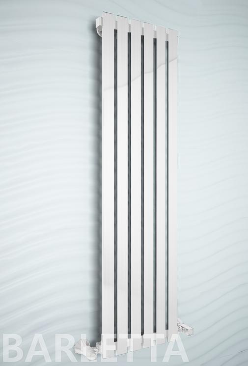 Barletta White - белый дизайн полотенцесушитель с прямоугольными вертикалями.
