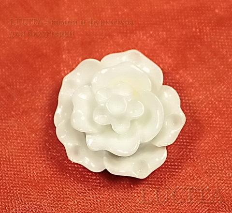 """Кабошон акриловый """"Роза"""", цвет - белый, 20 мм"""
